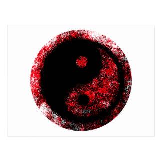Preto vermelho de Yin Yang os presentes de Zazzle Cartão Postal