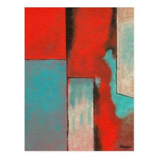 Preto vermelho do Aqua da pintura da arte Cartao Postal