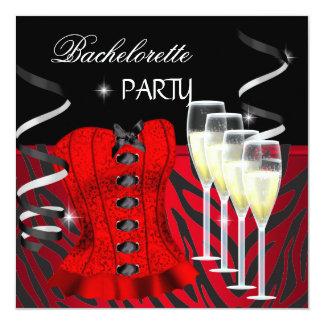 Preto vermelho do espartilho da zebra da festa de convite quadrado 13.35 x 13.35cm