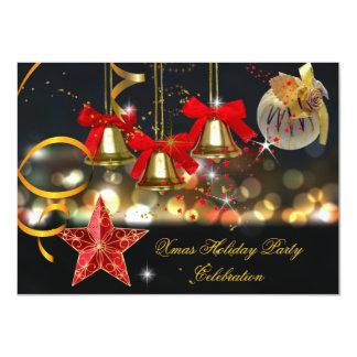 Preto vermelho do ouro da festa de Natal do Convite Personalizado