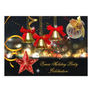 Preto vermelho do ouro da festa de Natal do feriad Convite Personalizado