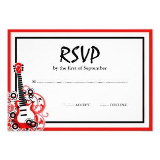 Preto vermelho RSVP da guitarra da estrela do rock Convite