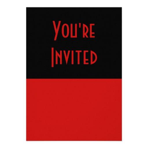 preto vermelho simples convite