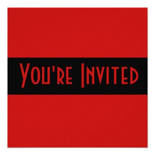 preto vermelho simples convite personalizado
