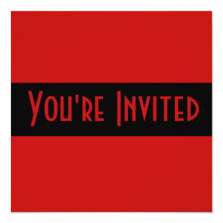 preto vermelho simples convite quadrado 13.35 x 13.35cm