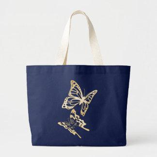 Primavera das borboletas do ouro bolsa tote grande