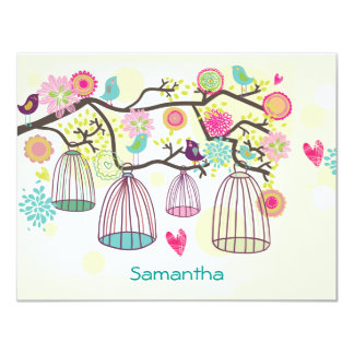 Primavera emplumado Notecard liso dos amigos Convite 10.79 X 13.97cm