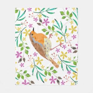 Primavera floral e pássaro do pisco de peito cobertor de lã