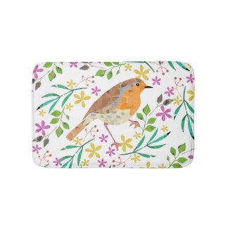 Primavera floral e pássaro do pisco de peito tapete de banheiro