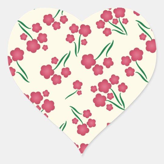 Primavera magenta das flores do rosa da flor da adesivo coração