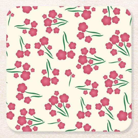 Primavera magenta das flores do rosa da flor da porta-copo de papel quadrado