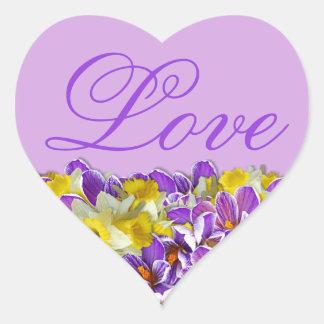 Primavera roxo e floral etiqueta Coração-Dada