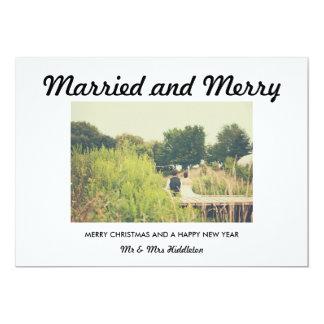 Primeira do Natal foto moderna casado e da feliz Convite 12.7 X 17.78cm