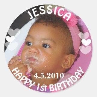 Primeira etiqueta da menina do aniversário