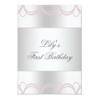 Primeira festa de aniversário das meninas convite 12.7 x 17.78cm