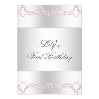 Primeira festa de aniversário das meninas cor-de-r convites personalizado