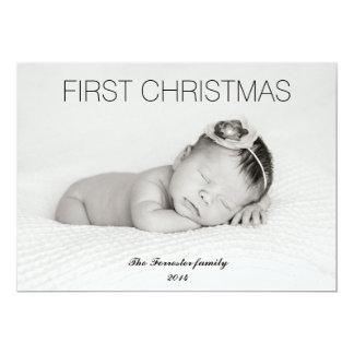 Primeira foto moderna bonita do bebê do Natal Convite 12.7 X 17.78cm