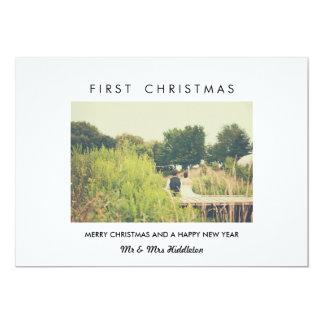 Primeira foto moderna do Natal & do feliz ano novo Convite 12.7 X 17.78cm