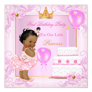 Primeira princesa Tiara Menina Cor-de-rosa Étnico Convite Quadrado 13.35 X 13.35cm