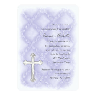 Primeira treliça do rosa do roxo do comunhão convites personalizados