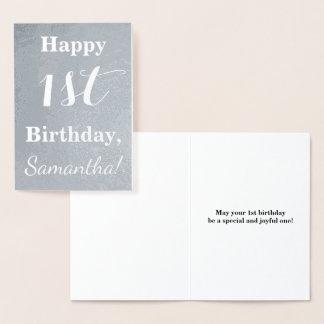 Primeiro aniversario básico da folha de prata + cartão metalizado
