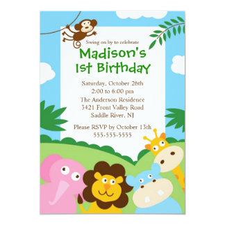 Primeiro aniversario bonito do safari convite personalizado