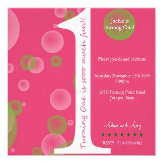 Primeiro aniversario cor-de-rosa 1 convites personalizado