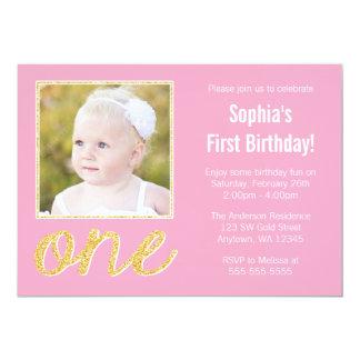 Primeiro aniversario cor-de-rosa da foto do brilho convite 12.7 x 17.78cm