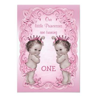 Primeiro aniversario cor-de-rosa da princesa Gêmeo Convite 12.7 X 17.78cm