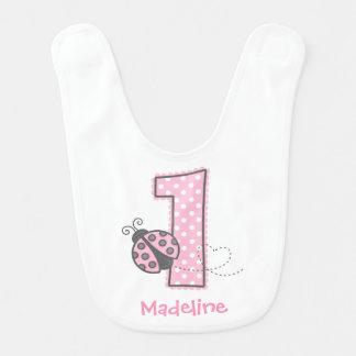 Primeiro aniversario cor-de-rosa do joaninha babadores para bebes