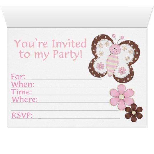 Primeiro aniversário da borboleta cor-de-rosa cartão de nota