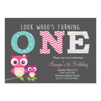 Primeiro aniversário da coruja - o olhar whoo está convite 12.27 x 17.78cm
