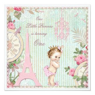Primeiro aniversario da princesa chique de Paris Convite Quadrado 13.35 X 13.35cm