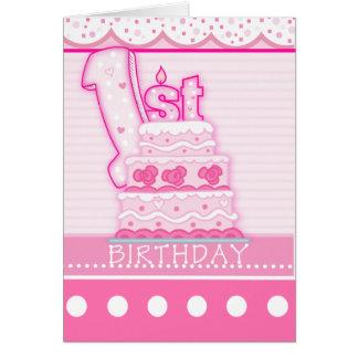 Primeiro aniversário das meninas cartão comemorativo