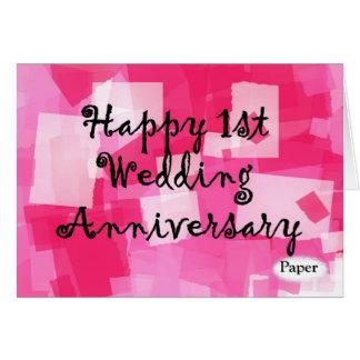 Primeiro aniversário de casamento cartão