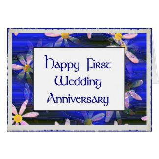Primeiro aniversário de casamento feliz cartão comemorativo