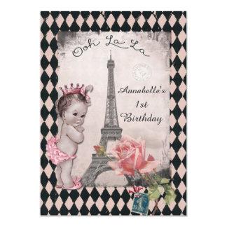 Primeiro aniversario do bebê da princesa torre convite 12.7 x 17.78cm