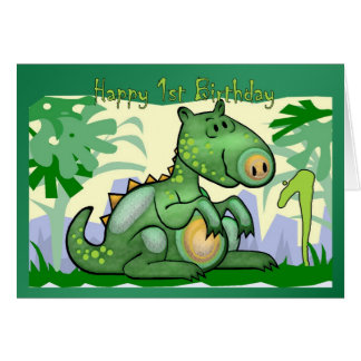 Primeiro aniversario do cartão do dinossauro do