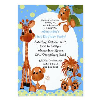 Primeiro aniversario do divertimento do safari convites personalizados