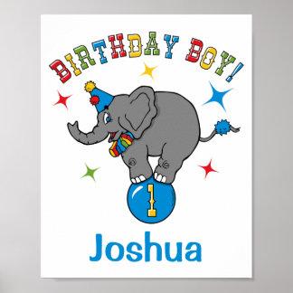 Primeiro aniversario do elefante do circo pôsteres