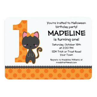 Primeiro aniversario do gatinho do Dia das Bruxas Convites Personalizado
