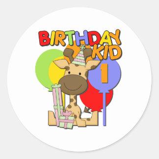 Primeiro aniversario do girafa adesivo redondo