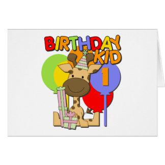 Primeiro aniversario do girafa cartão