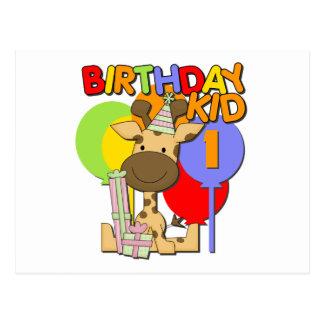 Primeiro aniversario do girafa cartão postal