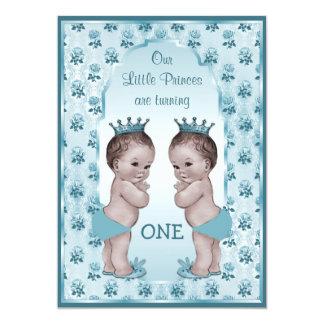 Primeiro aniversario do príncipe Menino Gêmeo Azul Convite 12.7 X 17.78cm