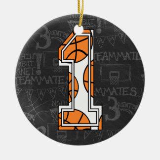 Primeiro aniversario do quadro do basquetebol ornamento de cerâmica redondo