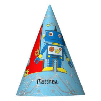 Primeiro aniversario do robô chapéu de festa