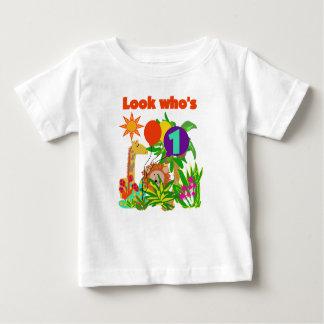 Primeiro aniversário do safari camiseta para bebê