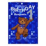 Primeiro aniversario do urso de ursinho para o men cartões