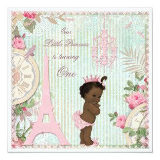 Primeiro aniversario étnico da princesa chique de convite quadrado 13.35 x 13.35cm